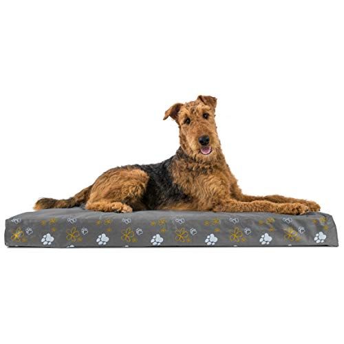 Furhaven Pet Dog Bed | Deluxe Orthopedic Mat Water-Resistant Indoor/Outdoor Garden Print Traditional Foam Mattress Pet Bed w/ Removable Cover for Dogs & Cats, Iron Gate, Jumbo