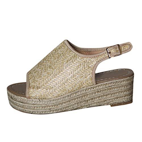 - Loosebee Womens Espadrilles Platform Wedge Buckle Woven Peep Toe Sandals
