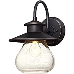 Westinghouse 6313500 Delmont One-Light Outdoor Wall Fixture with with Clear Seeded Glass, Oil Rubbed Bronze