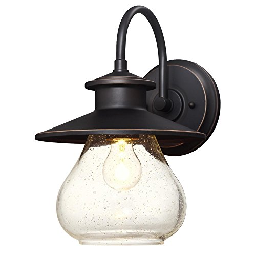 Westinghouse Lighting 6313500 Delmont One-Light Outdoor Wall Fixture, Oil Rubbed Bronze Finish with Highlights with Clear Seeded ()