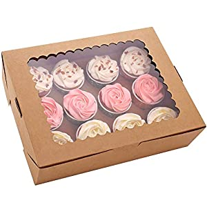 Best Epic Trends 41tjAILBSbL._SS300_ 6-Set Cupcake Boxes Hold 12 Standard Cupcakes, Brown Cupcake Containers, Cupcake Carrier, Food Grade Kraft Cupcake…
