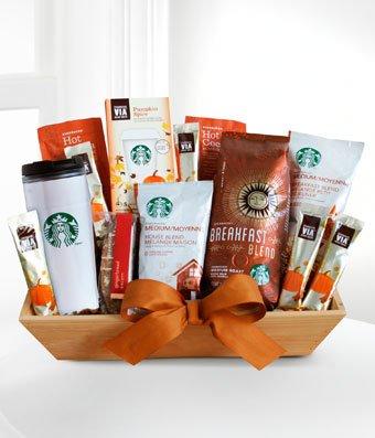 Starbucks Christmas Gift - eshopclub Same Day Christmas Flower Basket Delivery - Online Christmas Basket - Christmas Flowers Basket & Plants - Send Christmas Basket