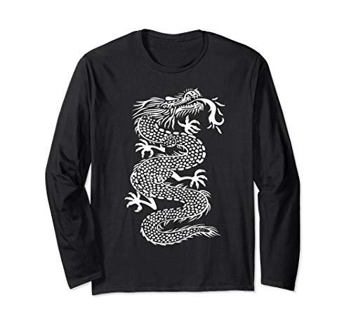 - ROCKSTAR White Kung Fu Dragon - Martial Arts Tattoo Style  Long Sleeve T-Shirt