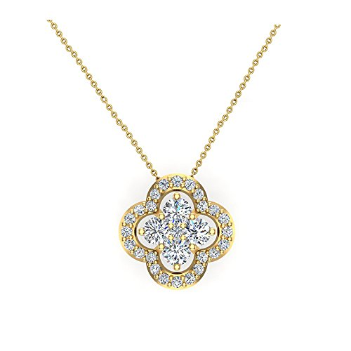 Flower Cluster Diamond Loop Necklace 0.80 ctw 14K Yellow Gold (I,I1) (Pendant Flower Gold White Diamond)