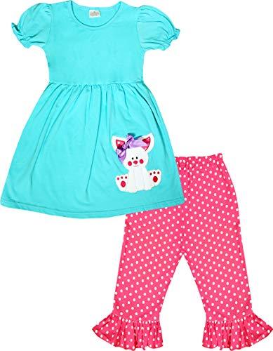Boutique Little Girls Happy Easter Cute Bunny Tunic Polka Dots Capri Outfit Set Aqua/Fuchsia 7/3XL