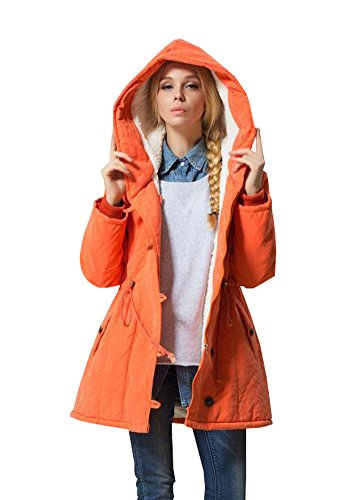 Eleter Women's Winter Warm Coat Hoodie Parkas Overcoat Fleece Outwear Jacket with Drawstring (2XL,Orange)