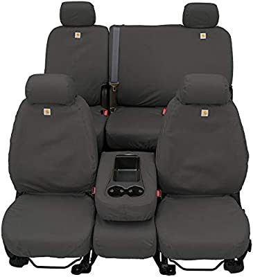 Brown Covercraft Carhartt SeatSaver Second Row Custom Fit Seat Cover for Select Ford F-150 Models Duck Weave
