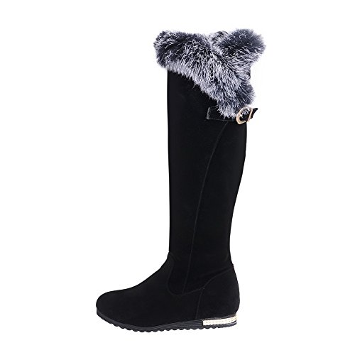 Leather Fur Heighten Inside Imitated BalaMasa Ladies Buckle Black Collar Boots UxPw4SB0