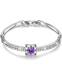 "925 Silver Plated Spiritual Guidance Bangle Bracelets 7"", Made with Swarovski Purple Crystals Fold-Over Clasp"