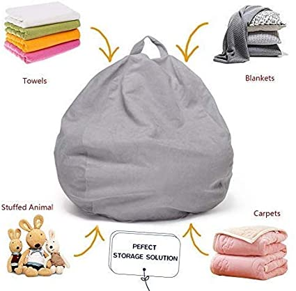 Teens XL only Cover by Ink Craft Without Filler Grey top Selling Bean Bag Chair: Beanbag Chairs Removable Cover for Kids
