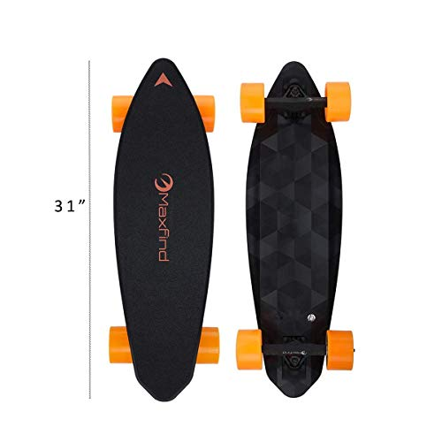 Electric Skateboard Longboard with Remote Controller, 23 MPH Top Speed, 16 Miles Max Range, Dual Motor 1000W, Fiberglass Desk with Updated Board - 4nd Generation (Max 2 Dual)