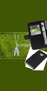 LECELL--Cuero de la tarjeta la carpeta del tirón Smartphone Slots Protección Holder For Samsung Galaxy S6 EDGE -- Slytherin --
