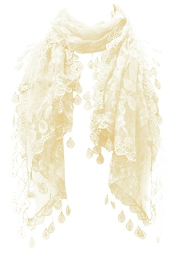 - LL Womens Off White Cream Lace Scarf with Tear Rain Drop Tassels All Over