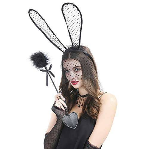 Zoylink 4PCS Party Headband Set Costume Hair Hoop with Fairy Wand Choker Lace Gloves by Zoylink