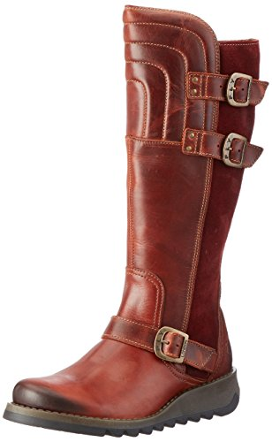 Fly London Damen Sher730fly Biker Boots Rotten (baksteen / Wijn 003)
