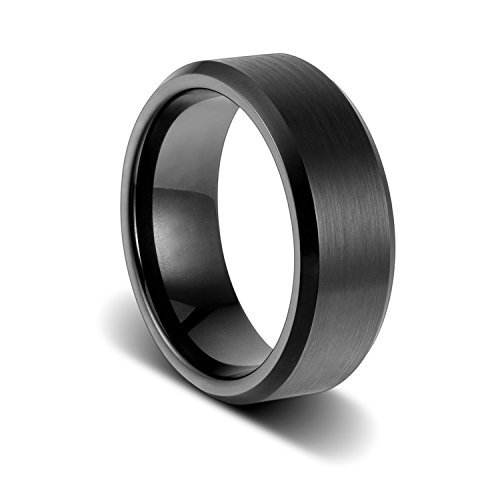 Custom Engagement Bands (TUSEN JEWELRY Engraving Personalized Custom Wedding Band Engagement Black Tungsten Ring 8mm Size:9)
