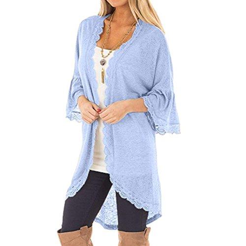 iDWZA Womens Loose Casual Three Quarter Sleeve Lace Kimono Cardigan (Blue, XL)