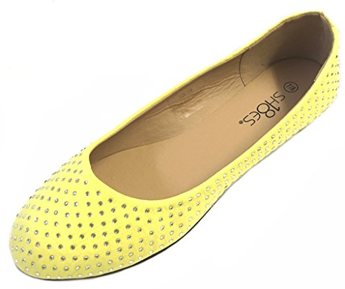 4021 Flats Yellow 7 Suede Ballerina Faux Womens Ballet Shoes 8 Rhinestone 8Oq06PX