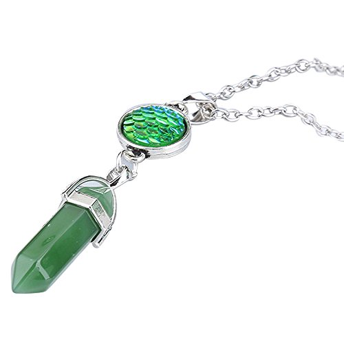 (HTHJSCO Jewelry Glass Tiny Wishing Bottle Vial Necklace Pendant Chain Necklace Romantic Gift (Green A))