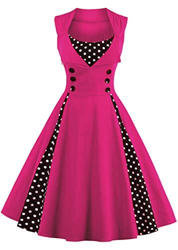 (Nihsatin Women's 1950s Vintage Sleeveless Retro Swing Party Classy Dress Rose Red)