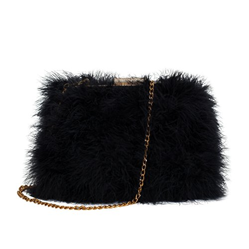 Zarapack Womens' Genuine Fluffy Feather Fur Clutch Shoulder Bag (Black) Fur Shoulder Bag