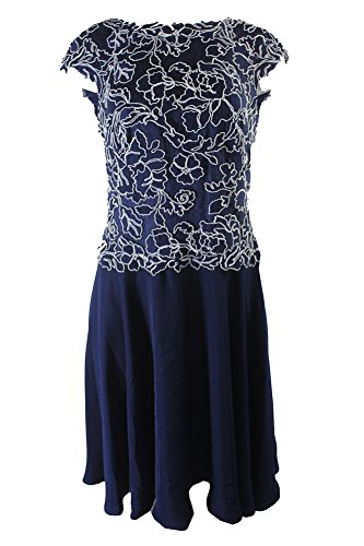 Tadashi Shoji Navy Cap-Sleeve Embroidered Lace Dress
