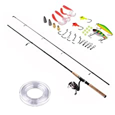 PLUSINNO Fishing Rod and Reel Combos FULL KIT Graphite Blanks Rod Pole (2 Piece) with Reel Line Lures Hooks and Accessories Fishing Gear Organizer 7'0