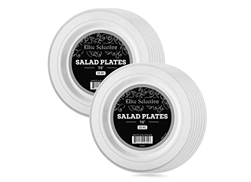 Disposable Plastic Salad Plates - 50 Pack Hard Round 7.5 Plate with Elegant Silver Double Trim for Wedding, Birthday, and Party - by Elite Selection