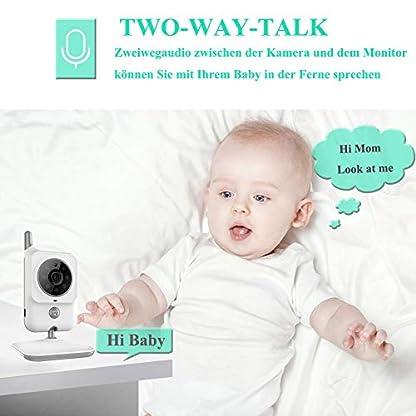 EYSAFT Babyphone mit Kamera Video Baby Monitor 3.2 Zoll Babyfon mit Talk Back und Temperaturüberwachung,Nachtsichtkamera,Schlaflieder,Nachtsicht, Intercom-Funktion VOX 6