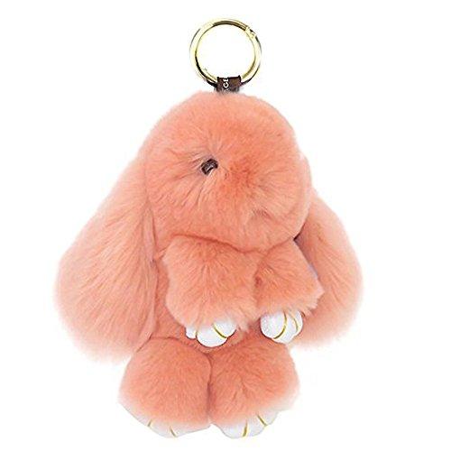 Soft Cute Bunny Charm Ring Keyfob Rabbit Fur Keyring Fluffy Pompom Keychain, Nude Pink, One Size