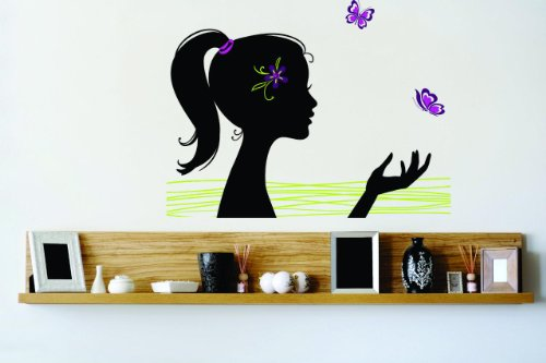 Top Selling Decals - Prices Reduced : Barbie Girl Ponytail Butterfly Flower Bedroom Bathroom Living Room Picture Art Mural - Size : 20 Inches X 30 Inches - Vinyl Wall (Barbie Mural)