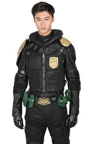 xcoser Judge Dredd Costume Deluxe PU Belt Jacket Pants Adult Halloween Cosplay Outfit L -