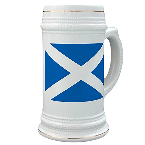 Beer Scottish (CafePress - Scottish Flag - Beer Stein, 22 oz. Ceramic Beer Mug with Gold Trim)