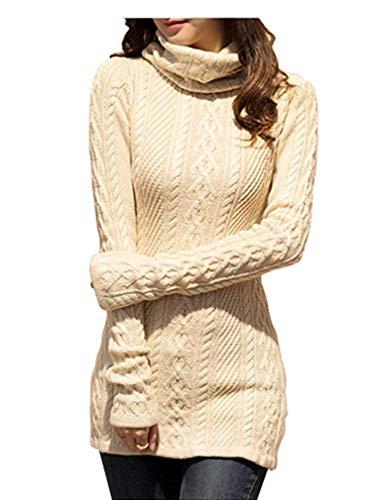 - v28 Women Polo Neck Knit Stretchable Elasticity Long Sleeve Slim Sweater-1822,BE Beige