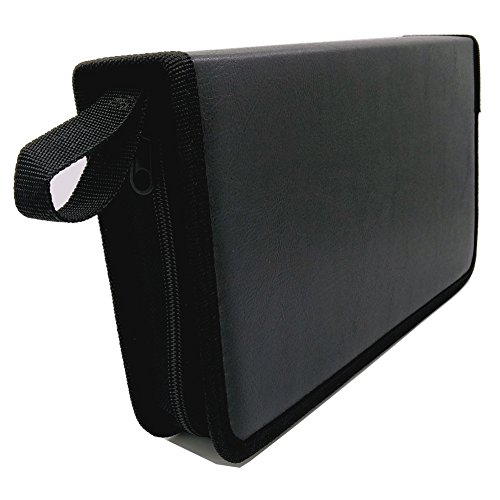 Price comparison product image Nizzco 80 Disc CD/DVD Portable WalletBlack Faux Leather Case Bag Album Box,Storage Organizer Holder