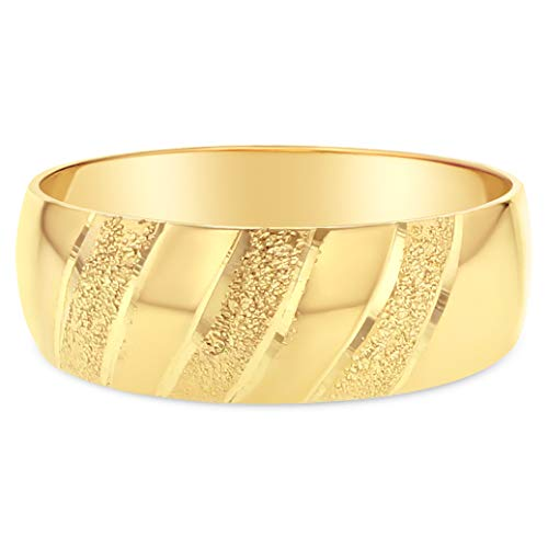 Ioka - 14K Solid Yellow Gold 6mm Tapered Wedding Band - Size -