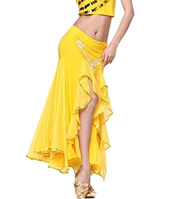 ZLTdream Women's Belly Dance Double-Slit Hip Packet Skirt