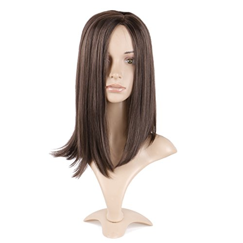 Queentas 16inch Shoulder Length Wig Short Bob Natural Looking Straight Synthetic Medium Hair Wigs for White Women with Wig Cap(Dark Brown #4) ()