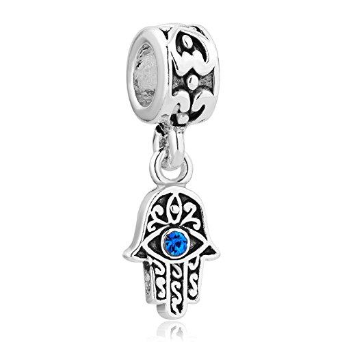 Q&Locket 925 Sterling Silver Evil Eye Hamsa Hand Fatima Good Luck Charm For Bracelet ()