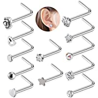 Adramata 12Pcs 20G Stainless Steel Nose Stud Rings for Women Girls L Shape Nose Piercing Jewelry Set