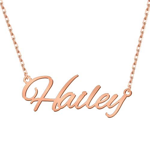 Personalized Name Necklace, 18K Rose Gold Plated Custom Nameplate Pendant Jewelry Gift for Women ()