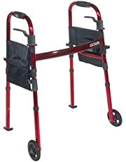 """Drive Medical Deluxe folding Travel Walker, 5"""" Wheels, Flame Red, 1 Each 1 count"""