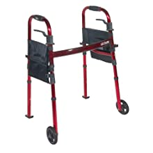"""Drive Medical Deluxe Portable Folding Travel Walker with 5"""" Wheels and Fold up Legs, Red"""