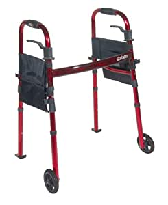 "Drive Medical Deluxe Portable Folding Travel Walker with 5"" Wheels and Fold up Legs, Red"