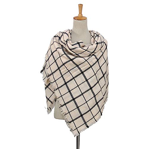 - Dora Bridal Lady Women Blanket Oversized Tartan Scarf Wrap Shawl Plaid Cozy Checked Pashmina (Large, Beige)