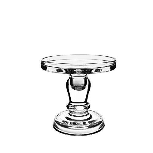 CYS EXCEL Clear Glass Pillar Candle Holder - Taper Candle Stand - Dual Use for Pillar or Taper Candlesticks - 5