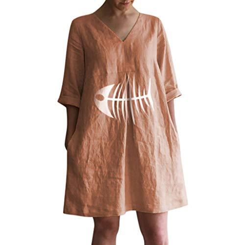 Women Casual V-Neck Printed Cotton Pleats Loose Baggy Kaftan Dress Hotkey Womens Tops Summer Orange