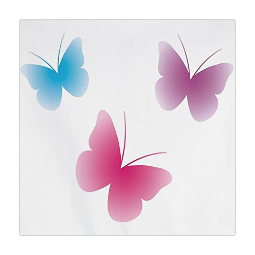 Satin Square Tablecloth,Animal,Butterfly Silhouettes Spiritual Wings Life Themed Image,Pink Dried Rose Blue,Dining Room Kitchen Table Cloth Cover