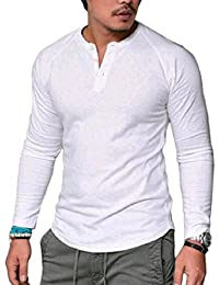 Pure Colour Fashionable Trim-Fit Long Sleeve V-Neck Pocket Top Pullover T-Shirt