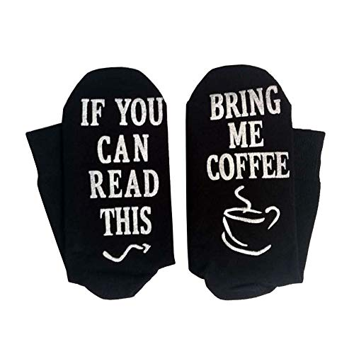 Yinpinxinmao Bring Me Coffee Funny Letter Creative Print Breathable Cotton Men Women Long/Short Socks Middle Tube Socks Black Short ()
